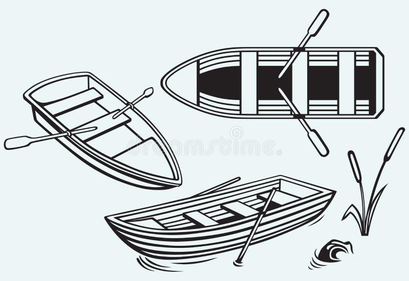 Träfartyg med skovlar stock illustrationer