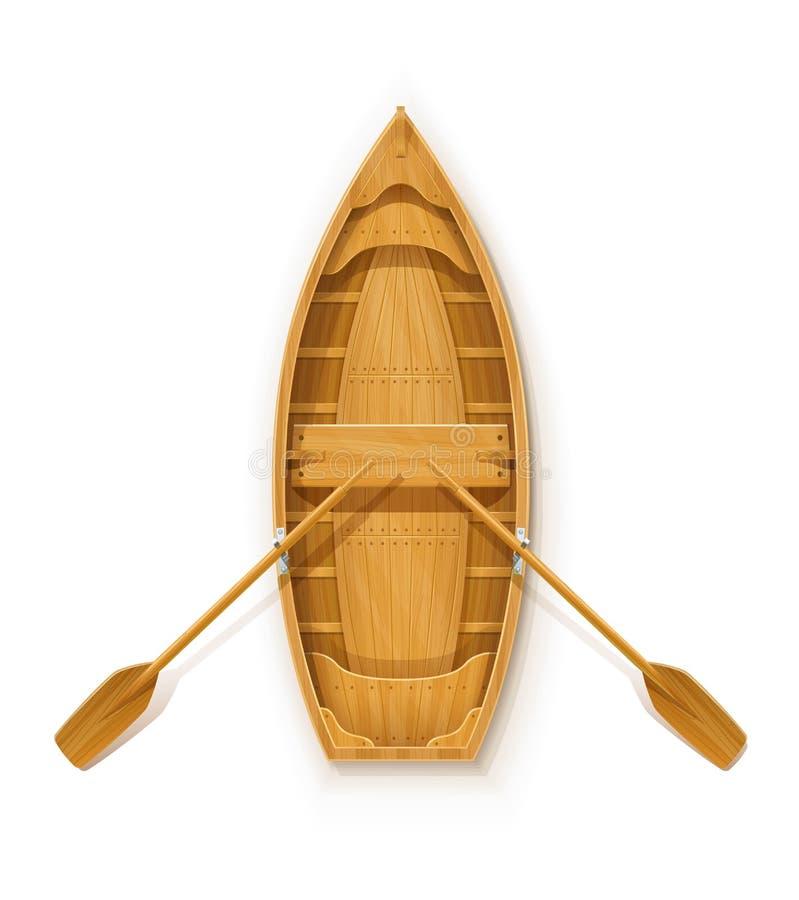 Träfartyg med skovlar för att fiska stock illustrationer