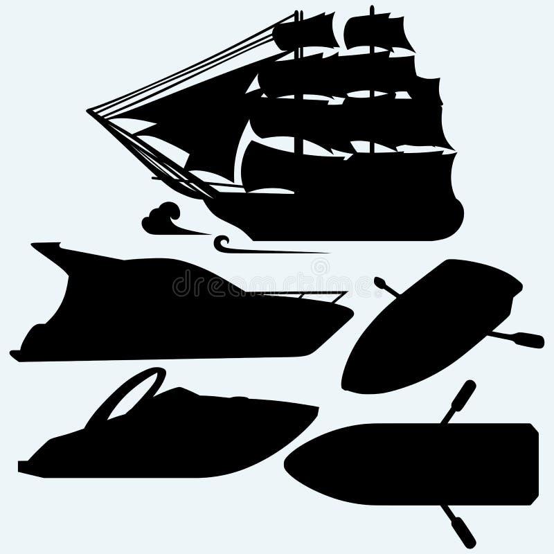 Träfartyg med skovlar, seglingskeppet och den lyxiga yachten stock illustrationer