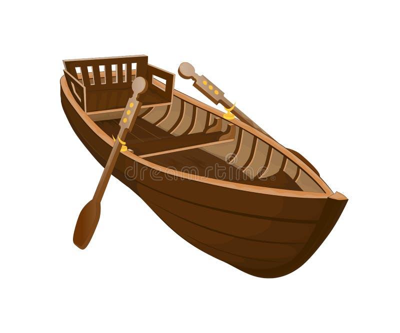 Träfartyg på en vit bakgrund stock illustrationer
