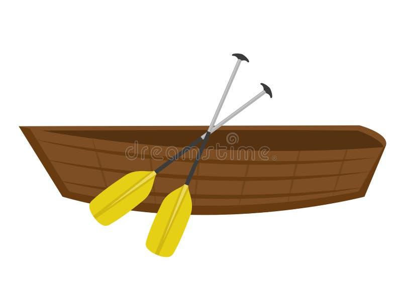 Träfartyget med paddlar symbolslägenhet, tecknad filmstil På vitbakgrund Vektorillustration, gem-ar royaltyfri illustrationer