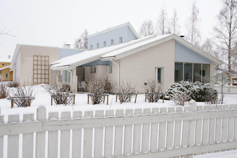 träfinlandssvenskt hus arkivbilder