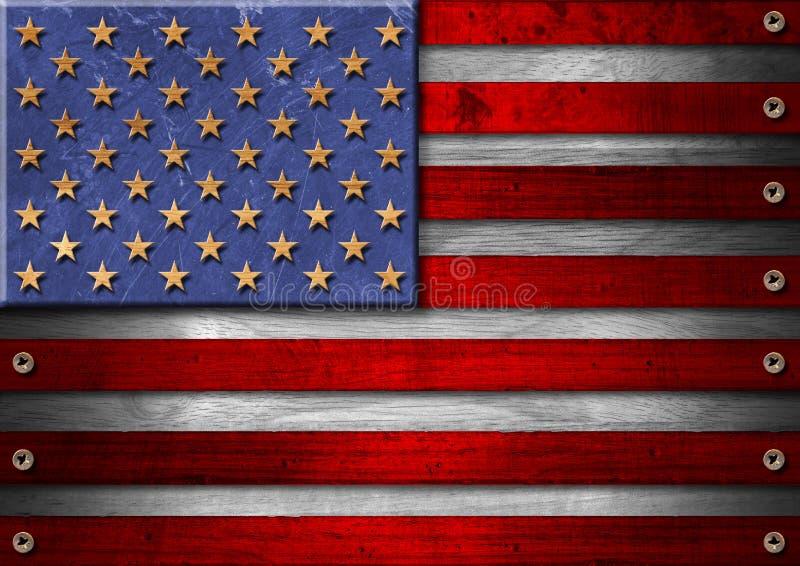 Träflagga för USA Grunge stock illustrationer