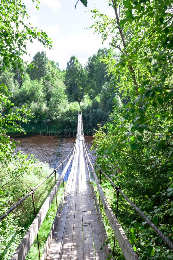 Träfot- upphängningbro över floden i skog på bakgrunden av sommarlandskapet arkivbilder