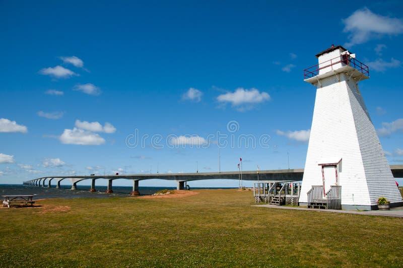 Träfyr i Marine Rail Park - prinsen Edward Island - Kanada arkivfoton