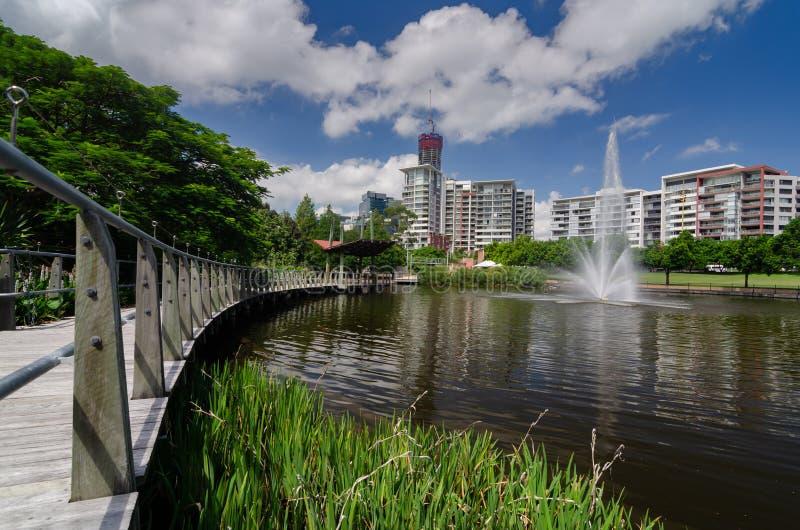 Trägångbana och sjö i de Brisbane botaniska trädgårdarna royaltyfri bild