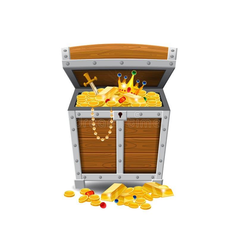 Trägamla piratkopierar bröstkorgar som är fulla av skatter, guld- mynt, skatter, vektorn, tecknad filmstil, illustrationen som is vektor illustrationer