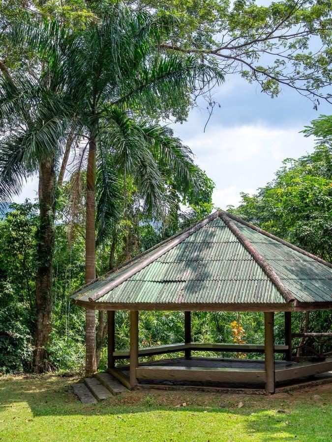 trägammal paviljong arkivbild