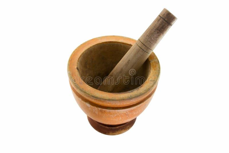 trägammal pestle för mortel arkivfoton