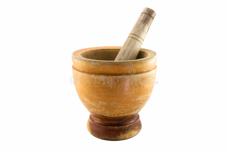 trägammal pestle för mortel arkivbilder