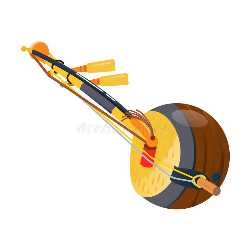 Trägitarr, thai traditionell tre-stringed hjälpmedelkokyu, musikinstrument stock illustrationer