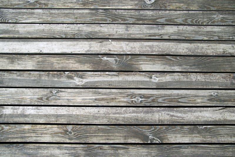 Trägolv av terrassen på flodbanken Textur av vått omålat trä royaltyfria foton