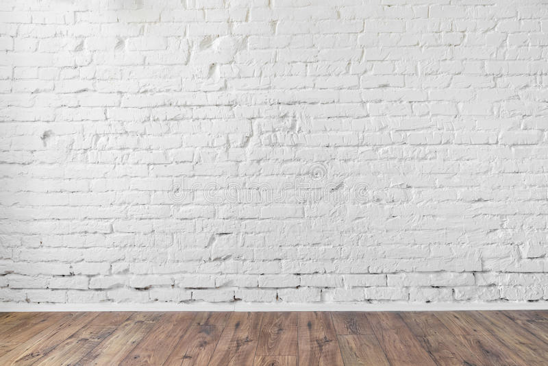 Trägolv för vit för tegelstenvägg bakgrund för textur fotografering för bildbyråer