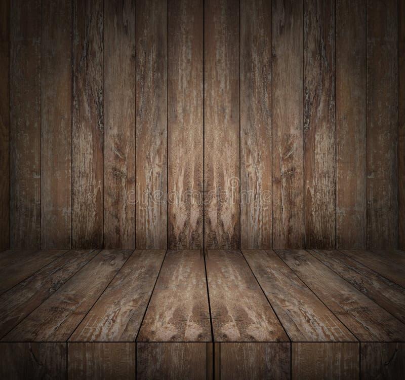 Trägolv och vägg royaltyfri bild