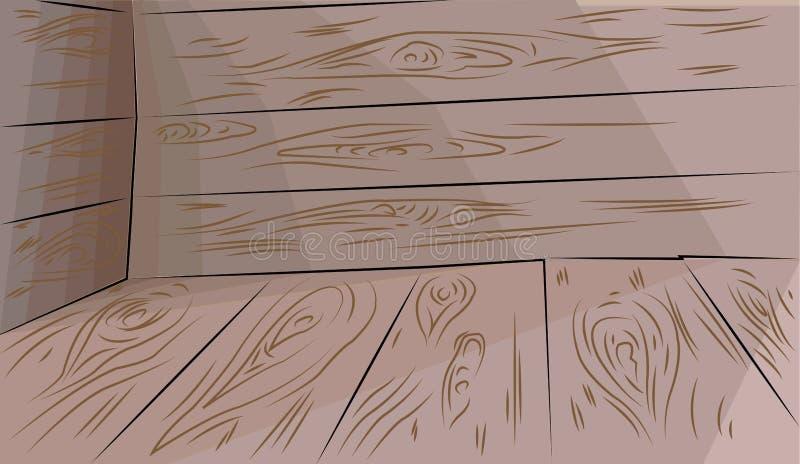 Trägolv och väggar vektor illustrationer