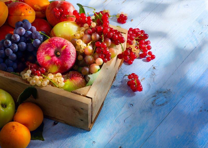Trägt abstrakter Markthintergrund der Kunst auf einem hölzernen Hintergrund Früchte lizenzfreies stockbild