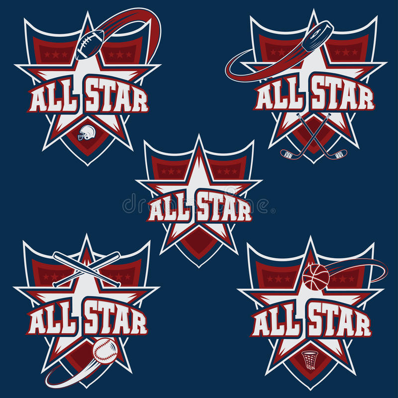 trägt All-Star- Kämme zur Schau stock abbildung