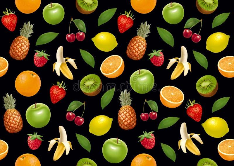 Trägt endloses bacground Früchte Schwarze Version lizenzfreie abbildung