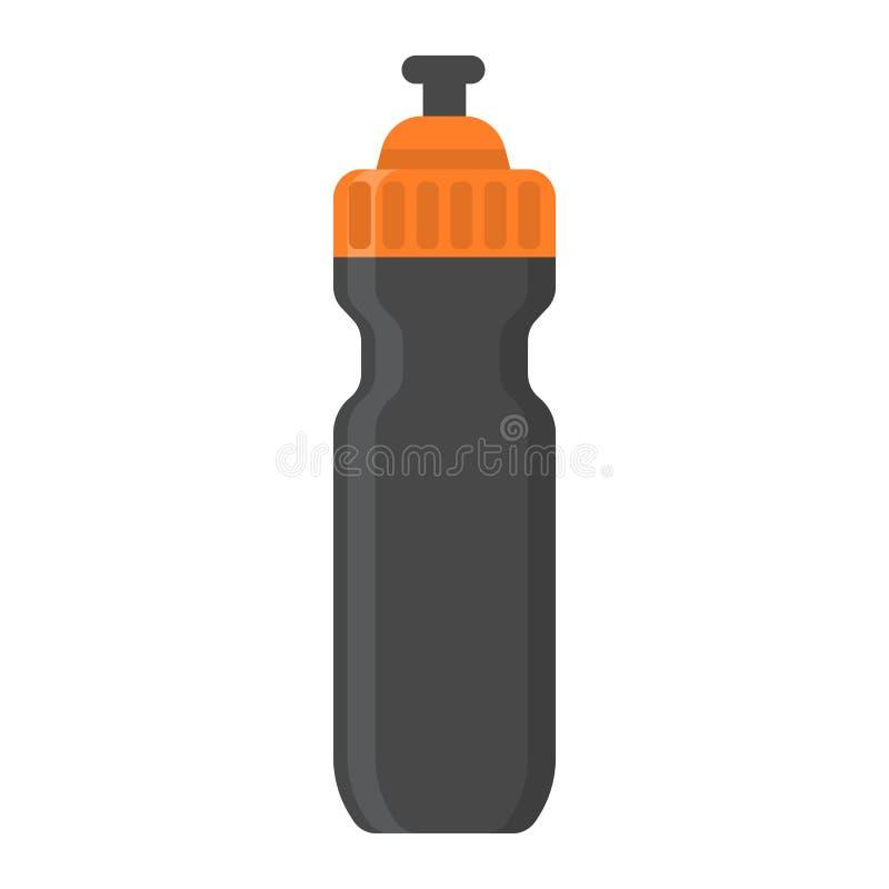 Trägt flache Ikone, Eignung und Sport der Wasserflasche zur Schau vektor abbildung