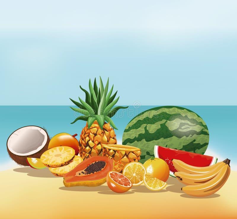 Trägt geschmackvoller frischer Strandsand Früchte vektor abbildung