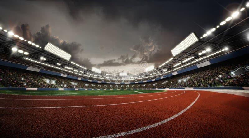 Trägt Hintergrund zur Schau stadium Regen auf dem Stadion stock abbildung