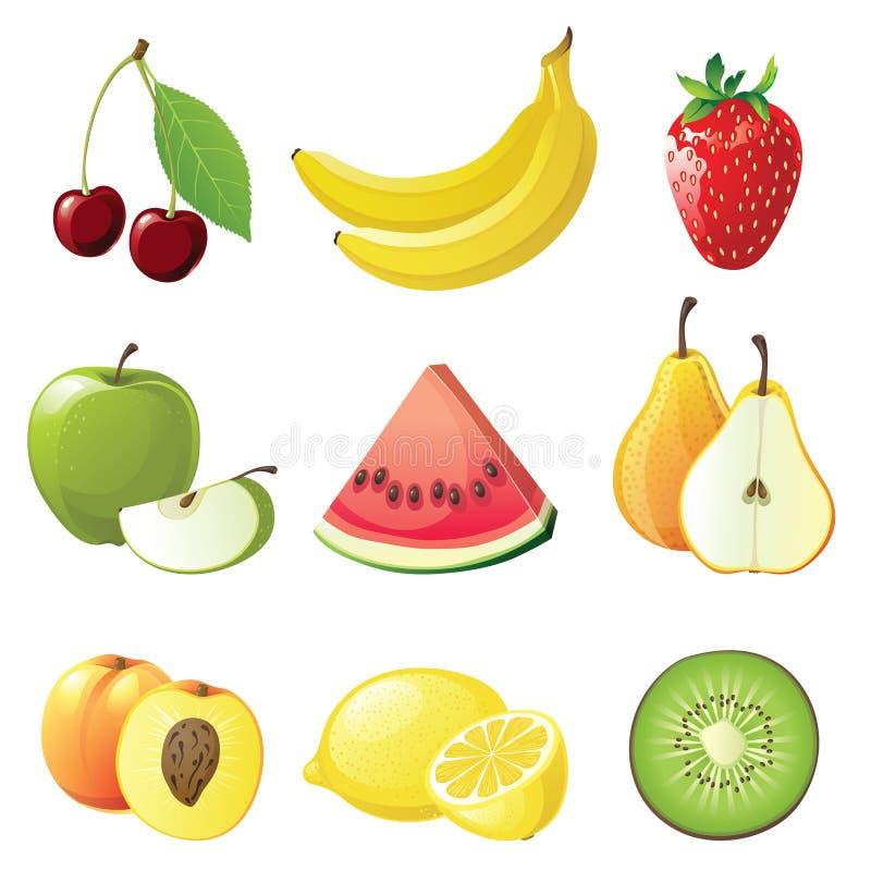 Trägt Ikonen Früchte stock abbildung