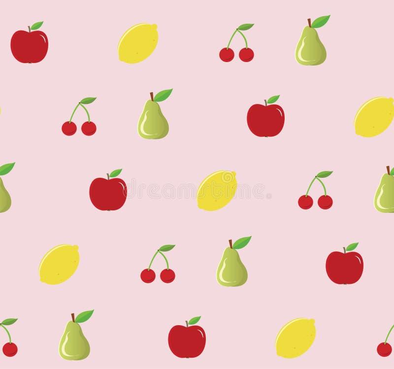 Trägt nahtloses Muster Früchte Rosa Hintergrund Auch im corel abgehobenen Betrag stock abbildung