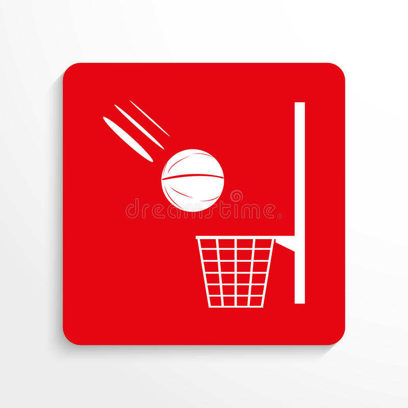 Trägt Symbol zur Schau Basketball Übersetzt Ikone Rotes und weißes Bild auf einem hellen Hintergrund mit einem Schatten lizenzfreie abbildung