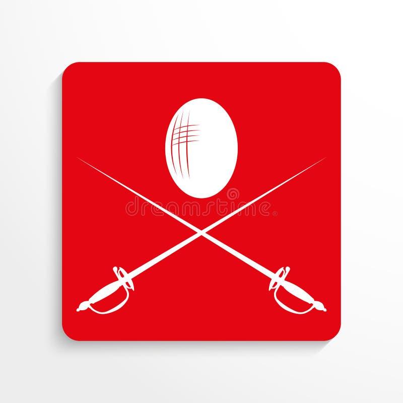 Trägt Symbole Zur Schau Fechten Übersetzt Ikone Rotes Und Weißes ...