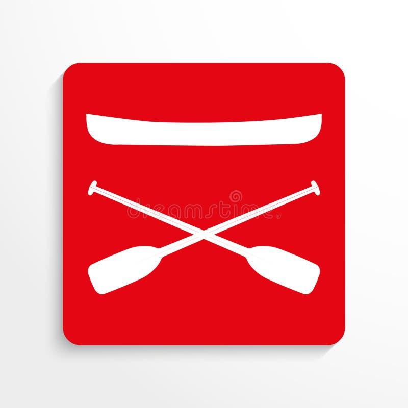 Trägt Symbole Zur Schau Kayaking Übersetzt Ikone Rotes Und Weißes ...