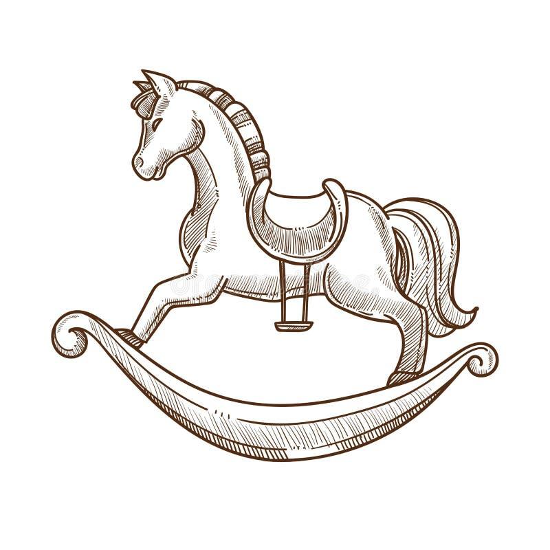 Trähäst i sadelgunga för små barn royaltyfri illustrationer