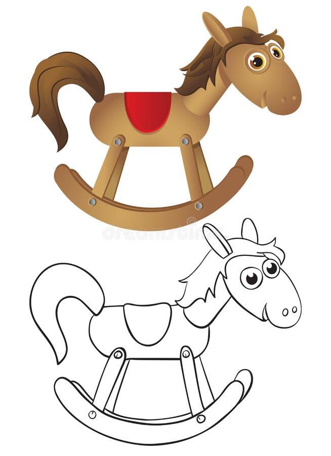 trähästvaggande stock illustrationer