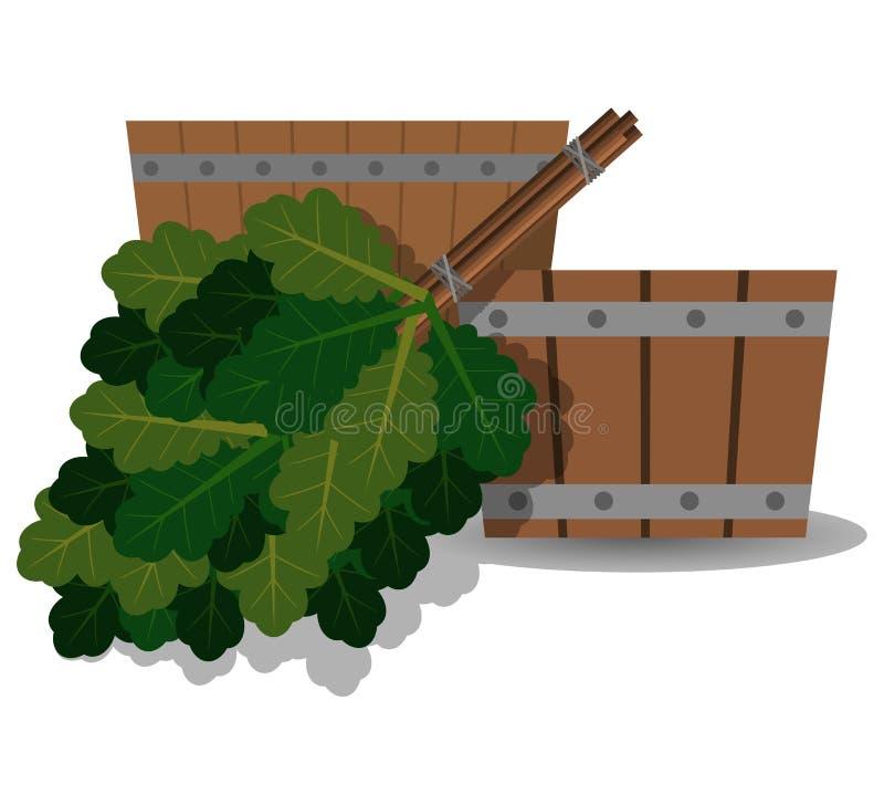 Trähandfat- och ekkvast för ett bad stock illustrationer