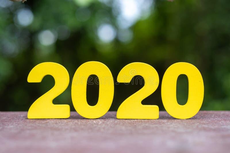 Trähandgjorda 2020 nummer på tabellen arkivfoton