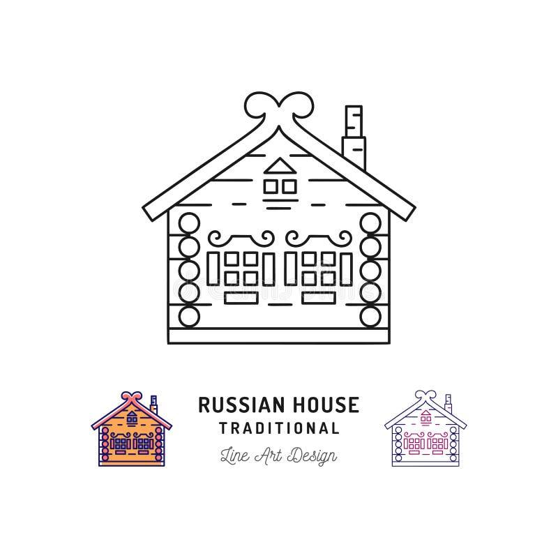 Trähem, hus av Santa Claus, traditionellt ryskt hus Resa i det Ryssland symbolet, tunn linje konstsymboler vektor stock illustrationer