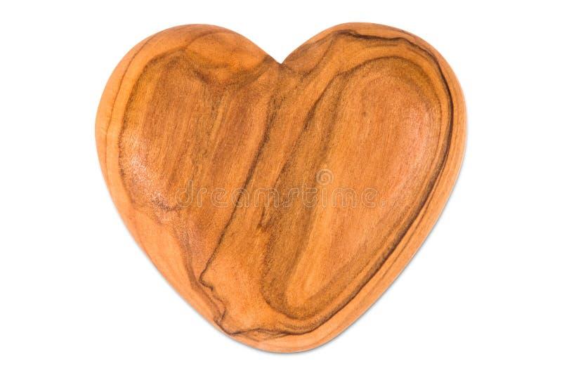 Trähjärta på vit bakgrund arkivbild