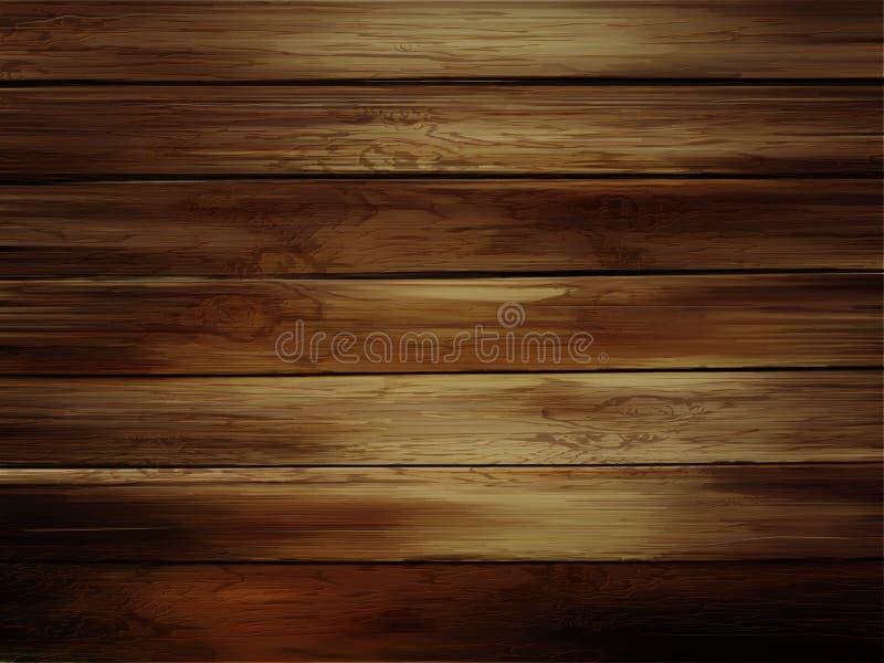 Trähorisontalplankabakgrund Realistisk mörk wood textur vektor illustrationer