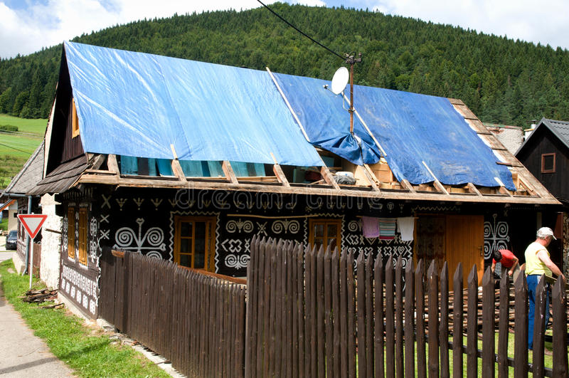 TräHous i den Slovac byn - rekonstruction fotografering för bildbyråer