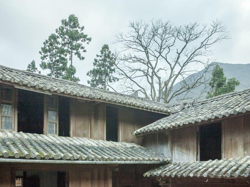 Trähus för härlig arkitektur, Vuongs husslott arkivfoto