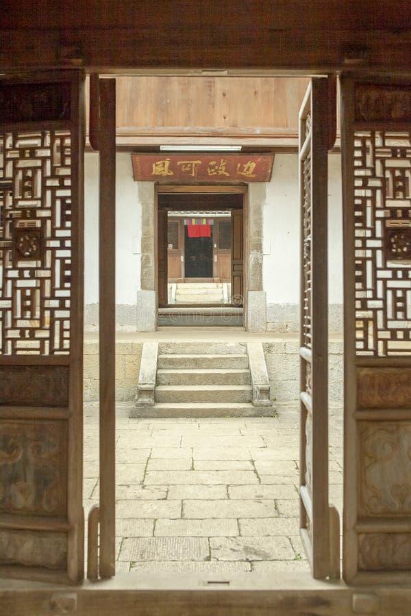 Trähus för härlig arkitektur, Vuongs husslott royaltyfria foton