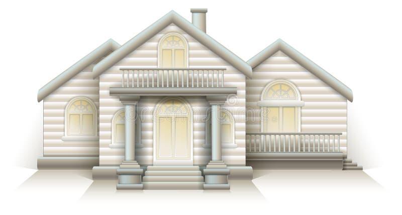 Trähus för vektor för husstugaorientering med ytterdörrkolonner och trappa stock illustrationer