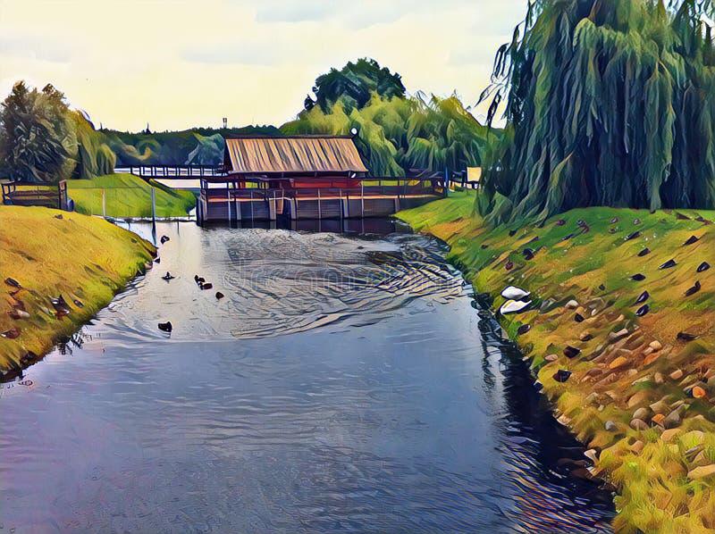 Trähus på färgrik digital illustration för flod Bygdlandskap med land och liten vik för videskog lantligt arkivfoton