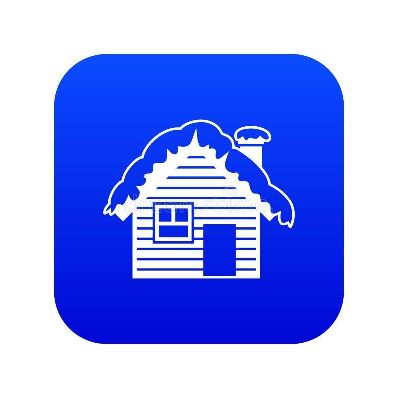 Trähus som täckas med digitala blått för snösymbol stock illustrationer