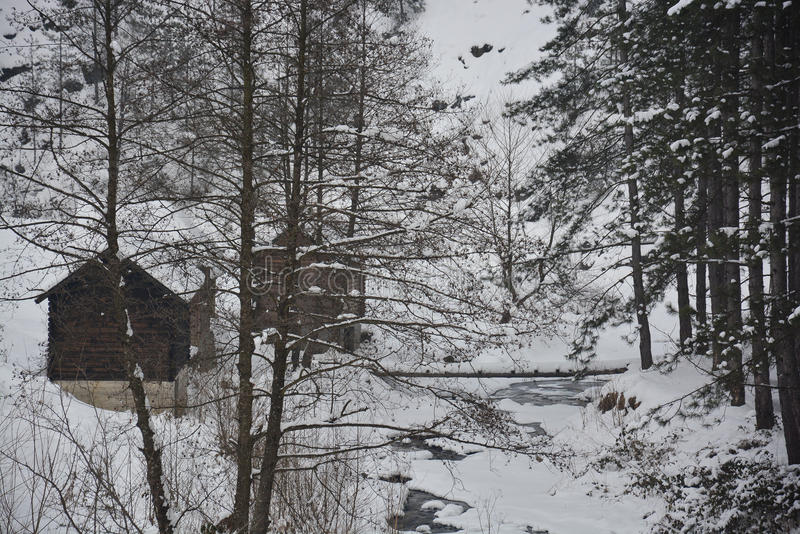 Trähuset i vintern fotografering för bildbyråer