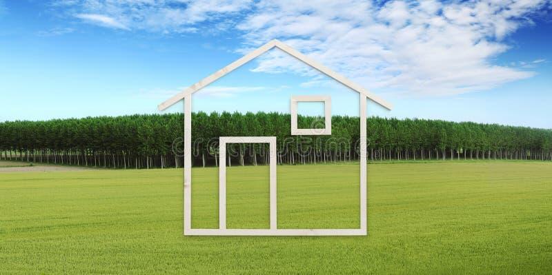 Trähusform som isoleras på naturbakgrund, den gröna ängen, träd och blå himmel, grönt byggande ekologihus arkivfoto