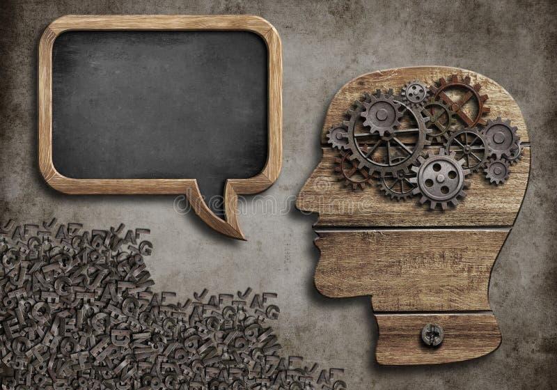 Trähuvud med anförandebubblan stock illustrationer