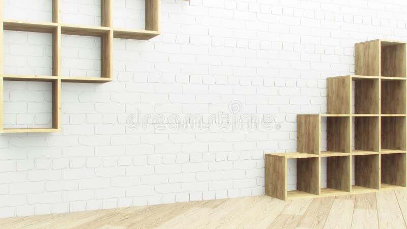 Trähylla över vit bakgrund för tegelstenvägg Tom trähylla i realistisk stil Wood garnering banermall naturligt royaltyfri illustrationer