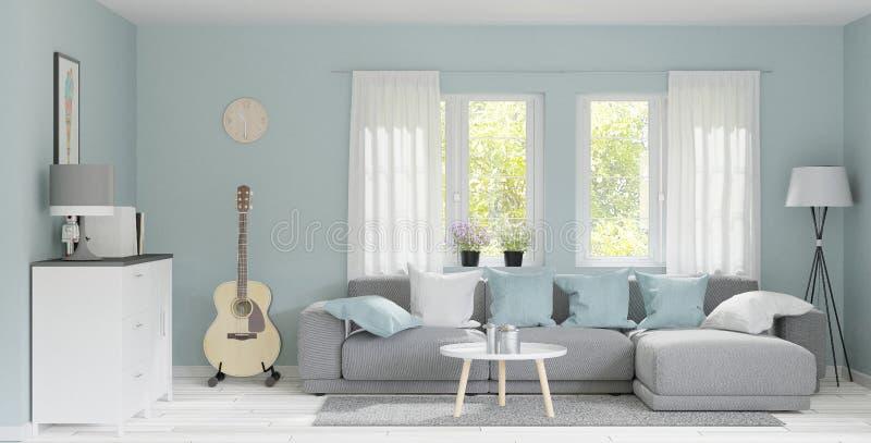 trähylla för tolkning 3d, minsta japansk stil 3d som framför modern stor vardagsrum med trägolvet, pastellfärgad grön vägg vektor illustrationer