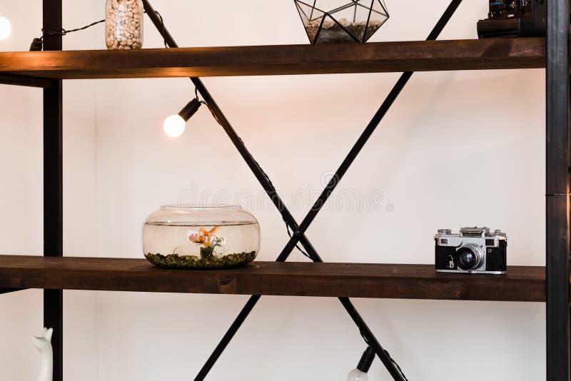 Trähylla i rummet med ett akvarium och en dekor arkivbilder