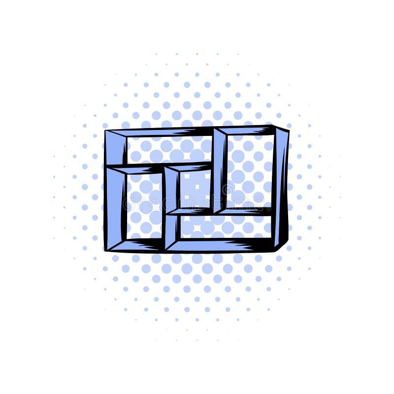 Trähyllakomikersymbol royaltyfri illustrationer